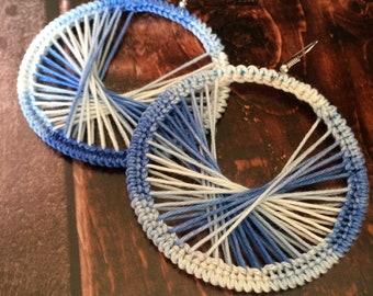 Crochet blue and white hoop earrings, crochet circle earrings, handmade gift