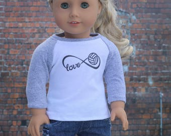American Made Doll Clothes | Volleyball Love Infinity Graphic 3/4 Sleeve BASEBALL TEE for 18 Inch Doll