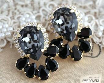 Gray Statement earrings,Gray Black Swarovski earrings, Crystal dark Gray earrings, Bridal earrings,Dark Gray Earrings,Gray Big Earrings