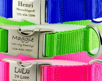 Neon Personalized Dog Collar!  Engraved Personalized Collars are Adjustable and Available in 16 Colors, 3 widths and 8 sizes