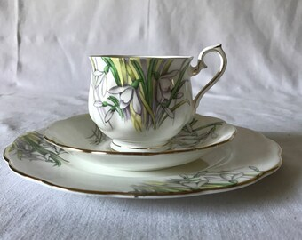 Vintage Royal Albert Tea Cup Saucer and dessert plate 3 piece fine bone china tea set England Collectible Display Snow Drops Hand painted