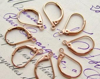 Elegant leverback earring findings, rose gold brass leverback ear wires, US made (8 earwires) lever back, lead nickel free, pink brass