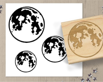 Full Moon Rubber Stamp, Harvest Moon Stamp, Full Moon Stamp, Planet Stamp, Astronomy Stamp, Space Stamp, Full Moon Journal Stamp 009