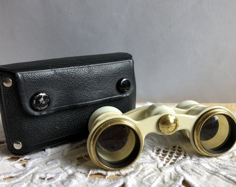 Vintage Theater Binocular. Soviet Opera Glasses. Lorgnette in original case the 1970s