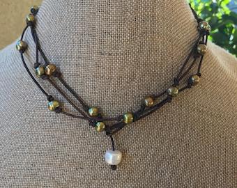 Long Pearl leather statement necklace, fresh water pearls, wrap bracelet, pearl bracelet, green pearl