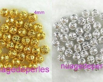 38 beads 4 mm filigree choice silver or gold stardust spacers