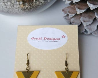 Mustard and bronze triangle earrings