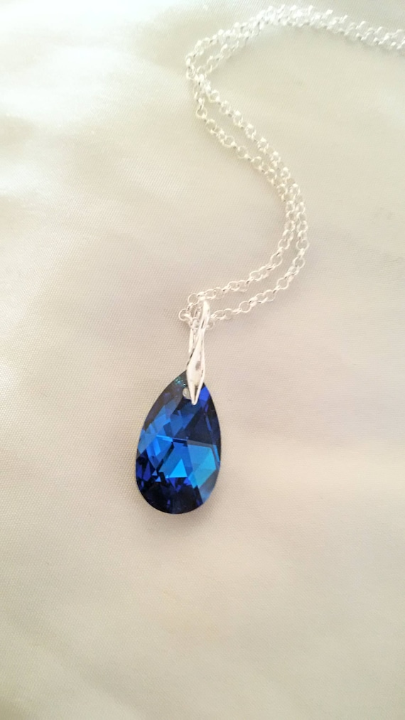 Swarovski crystal pendant necklace sterling silver necklace swarovski crystal pendant necklace sterling silver necklace blue pear shape crystal teardrop pendant necklace blue crystal necklace aloadofball Image collections