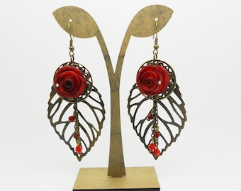 leaves earrings with red roses molded porcelain cold wedding