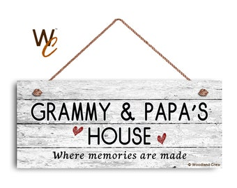 """Grammy and Papa's House Sign, Where Memories Are Made, Distressed Style, Gift For Grandparents, Weatherproof, 6"""" x 14"""" Sign,"""
