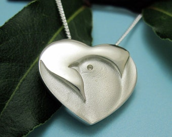 Silver Dove Heart Necklace, Peace Dove Heart Pendant with Chain, Peace and Love, Winged Dove in Heart, Hearted Dove, Heart with Dove Jewelry