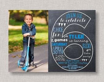 Sixth Birthday Invitation, 6th Birthday Invitation, Boy Birthday Invitation, Photo Invitation, 6th, Number 6, Sixth Birthday