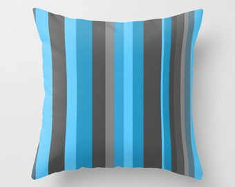 Gray and Blue Pillow Cover, Blue and Gray Stripes Stripes,Striped Pillow Cover