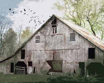 Abandoned Barn, Rustic Barn, 5 x 7  Matted Photograph, Country Scene