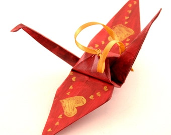 Gold Hearts on Burgundy Origami Crane Ornament Home Decor
