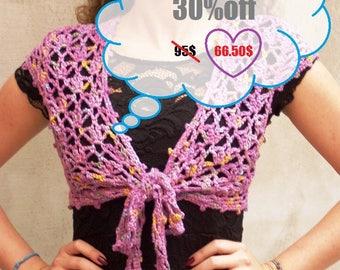 Bolero vest crochet rustic lace ochid pink feminine sweater