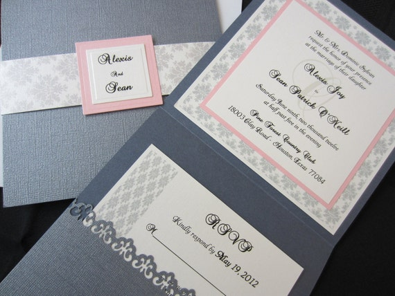 Traditional Elegant Wedding Invitations: Alexis Elegant Wedding Invitation Damask Wedding Traditional