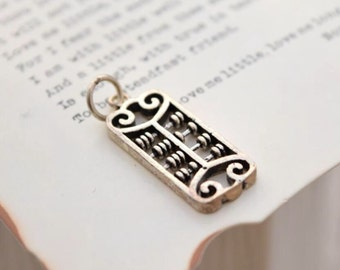 oxidized 925 sterling silver abacus charm pendant   , QUEAY1