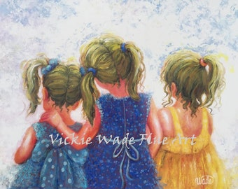 Three Sisters Art Print, girls room, sister wall decor, sister gift, blonde sisters painting, three girls,mother's day gift, Vickie Wade art