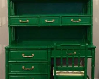 Faux Bamboo Desk Kelly Green Hutch and chair . Have 2 sets 1 can be customized