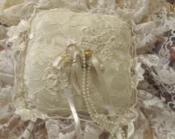 Sale - Sale -Beautiful White Lacey Bridal or Bed pillow