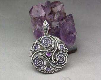 Forest triskele in purple - Celtic inspired silver pendant, amethyst, oak leaves, spirals, leaves , limited collection, purple triskele