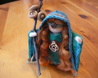 Celtic Goddess Bridgit Peg Doll, Waldorf Wooden Peg Doll, Handmade Miniature, Art Doll