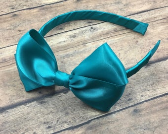 Jade Satin Bow on Hard Headband, Large Jade Hair Bow, Ribbon Wrapped Headband, Jade Hair Bow, Jade Headband, Jade Satin Bow