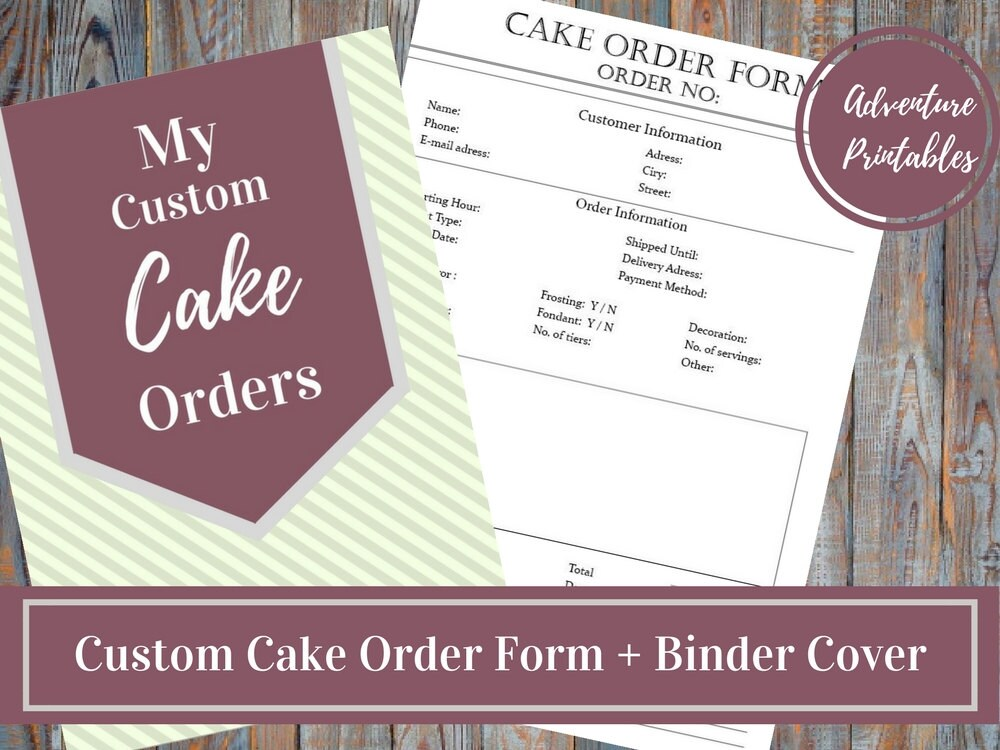 custom cake order form orders manager printable business