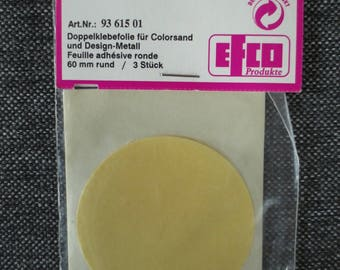3 adhesive sheets double-sided - 6 cm round - Efco