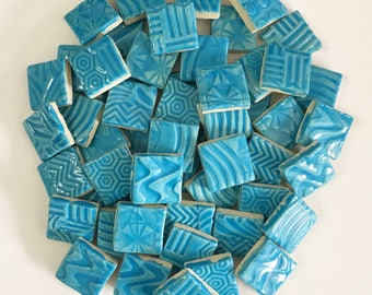 TURQUOISE Mosaic SQUARE High Fired Ceramic Tiles