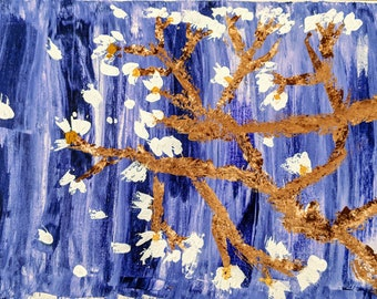 Purple Tree Acrylic Painting 24x12