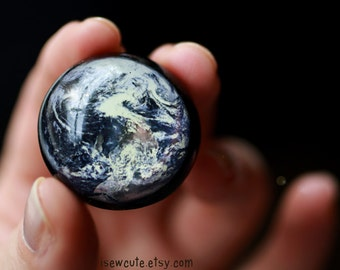 Happy Earth Day, Resin Ring, Earth from Space Globe Ring Zodiac Gift Space Jewelry Out of this World Statement Ring Modern Resin Jewelry