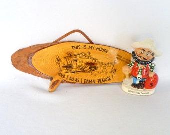 Vintage KITSCH CABIN SIGN/ Redwood Highway Souvenir