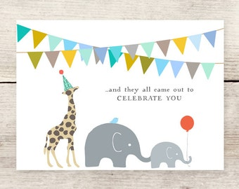 Animal Parade greeting card, Children's Birthday, New Baby card, Baby Shower card
