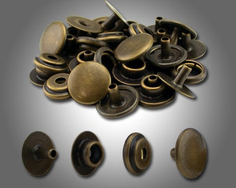 "Line 20 Snaps Antique Brass, 10, 50, 100 Pack, 1/2"" Cap, 3/16"" Post. Leather Snaps."