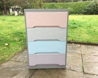 Hand painted small chest of drawers in grey & pastels