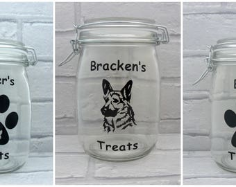 Personalised Dog or Cat Treat / Storage Jars, Airtight, Glass, Treats, Biscuits, Family, Friends, Presents, Gifts