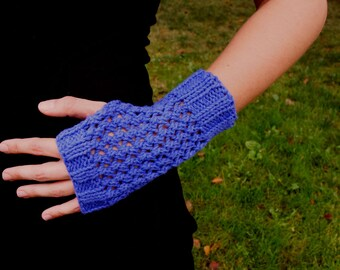 Purple Cotton Knit Texting Gloves - Knit Fingerless Mittens - Vegan Knit Gloves Women's Knitted Wrist Warmers Purple Knit Fingerless Gloves