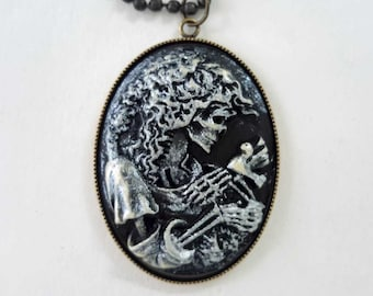 Skeleton Lady Cameo Necklace, Halloween Jewelry, Skeleton Necklace, Gold-tone Chain, Free Shipping