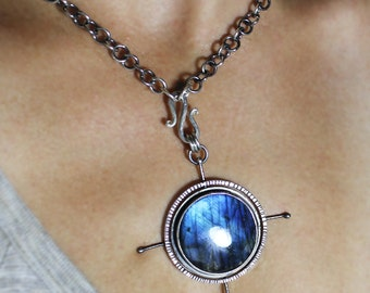 RESERVE for Sue Nelson payment 3 Compass to my Heart Interchangeable Pendant with Handmade Chain sterling silver patina sara westermark