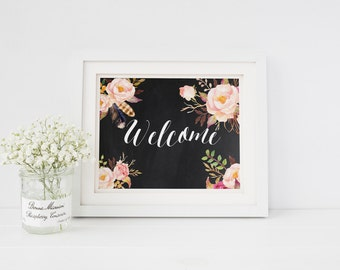 """PRINTABLE  Art """"Welcome Be Our Guest"""" typography Art Print Floral Chalkboard Art Chalkboard Print Chalkboard Quote Welcome sign home decor"""