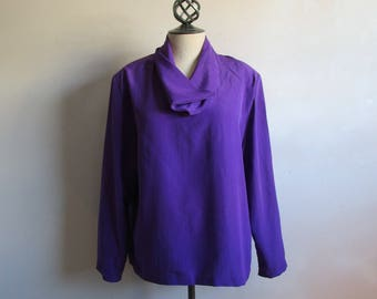 80s White Stag Cowl NeckTop Purple Silky Shimmer 1980s Summer Tunic Plus Size Top 16