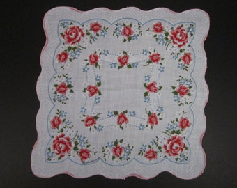 Vintage Handkerchief Red/Blue/White Floral (vh201)