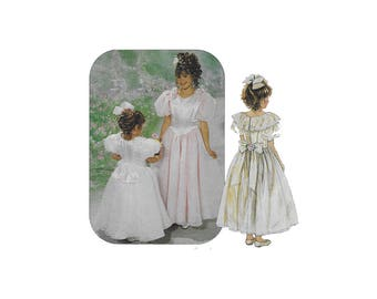 McCalls 2552, 1990s girls dress & attached petticoat pattern, size 10 to 14, princess seams,flower girl, puff sleeve, PREVIOUSLY CUT