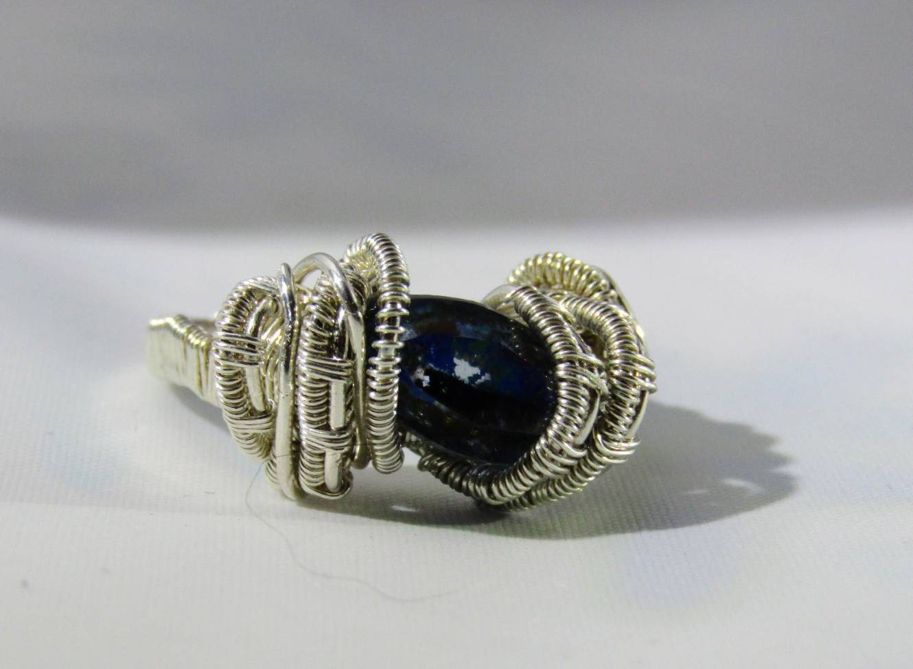 Gemstone Ring- Silver Wire Wrapped Marquise Cut Faceted Gemstone Ring