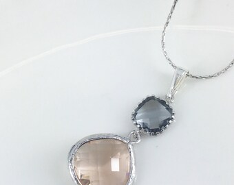 Champagne and Gray Pendant Necklace Glass drop Bridesmaid Jewelry Maid of Honor Champagne Necklace Bridesmaid Gifts Champagne Wedding Gift