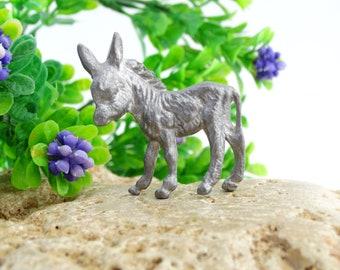 Vintage Pewter Donkey Figurine - Donkey Miniature - Animal Figurine - Collectible Donkey