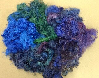 Silk Throwsters Waste, Sample Bag, Silk Filament Waste, Hand Dyed Mulberry Silk Waste Fibre, Colours across the Spectrum