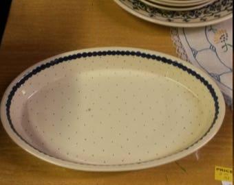 Polish Pottery Blue Cream Casserole Baker Handpainted Beautiful dish